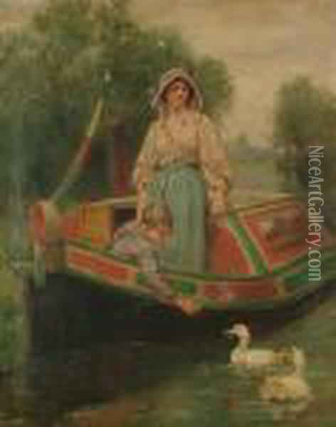 Mother And Child On A Canal Barge Oil Painting - Henry John Yeend King