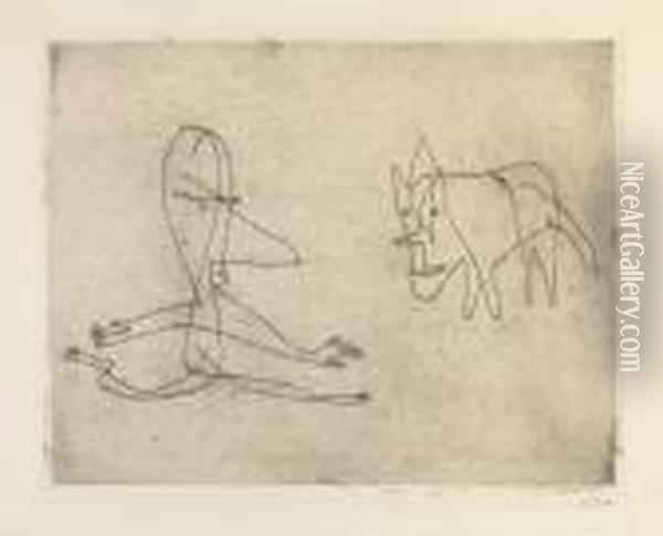 Was Lauft Er ? Oil Painting - Paul Klee