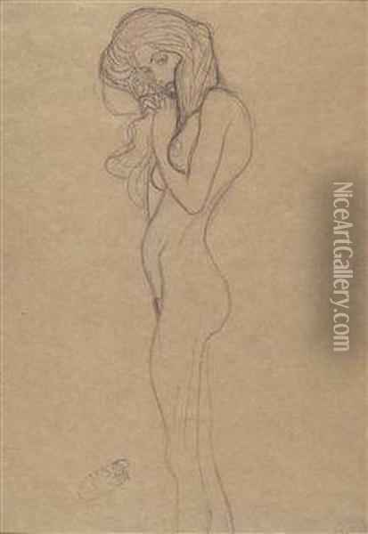 12 Sketches For The Beethoven Frieze From The Public Collection In Vienna Oil Painting - Gustav Klimt