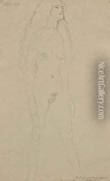 Portrait Of A Walking Female Nude Oil Painting - Gustav Klimt