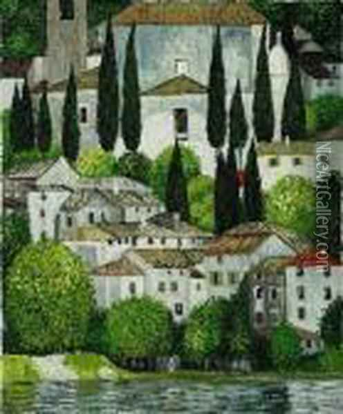 Kirche In Cassone, Church In Cassone (landscape With Cypress) Oil Painting - Gustav Klimt