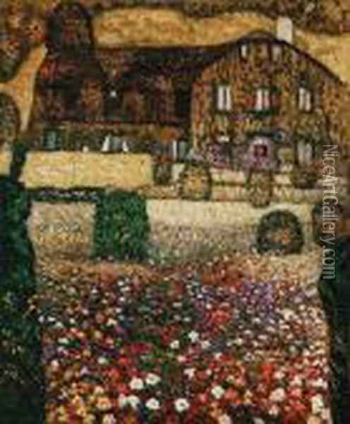 Country House By The Attersee Oil Painting - Gustav Klimt