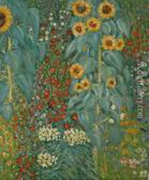 Farm Garden With Sunflowers Oil Painting - Gustav Klimt