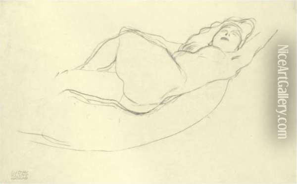 Liegender Akt Nach Rechts (reclining Woman To The Right) Oil Painting - Gustav Klimt
