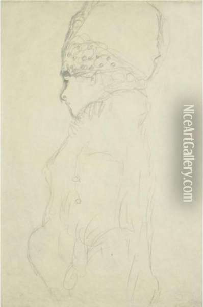 Damenbrustbild Mit Hohem Hut,  Mit Profil Nach Links (bust Of A Lady With A High Hat In Profile To The  Left) Oil Painting - Gustav Klimt