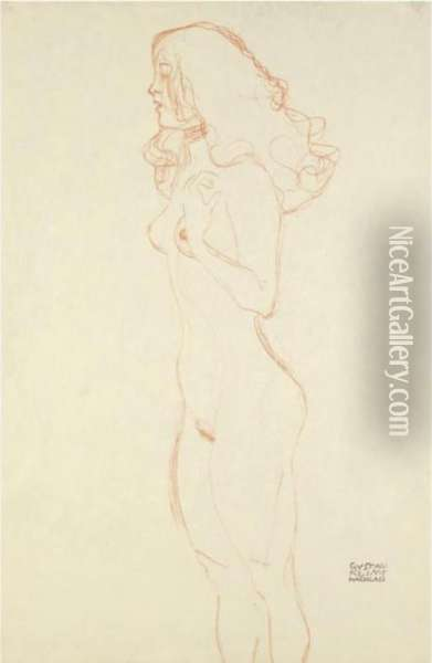 (standing Female Nude With Long Hair, Necklace, Her Left Hand On The Shoulder) Oil Painting - Gustav Klimt