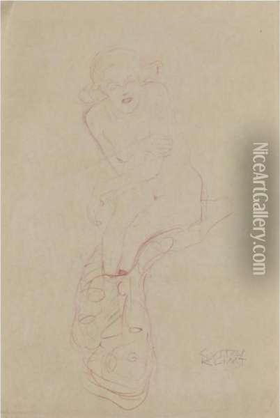 Sitzfrau (seated Woman) Oil Painting - Gustav Klimt