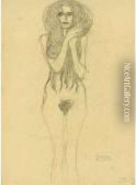 Property From A Private European Collection              Frauenakt Von Vorne (female Nude From The Front) Oil Painting - Gustav Klimt