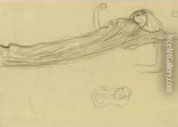 Property From A Private European  Collection              Schwebende Gewandfigur Nach Rechts, Wiederholung Des Linken  Armes, Skizze (floating Draped Figure To The Right, Repetition Of The  Left Arm, Sket Oil Painting - Gustav Klimt