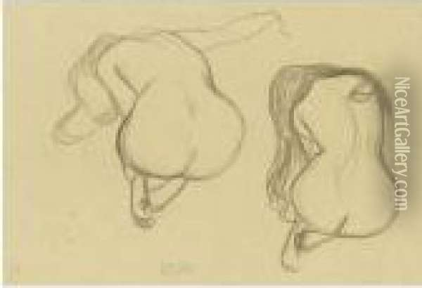 Property From A Private European Collection              Zwei Studien Eines Sitzenden Ruckenacktes Mit Langem Haar (two Studies Of A Seated Nude From Behind With Long Hair) Oil Painting - Gustav Klimt