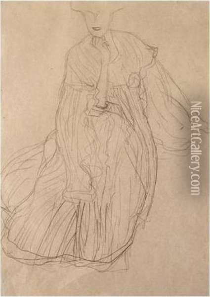Study For The Portrait Of Adele  Bloch-bauer: Seated, From The Front, Her Right Hand Supporting Her Chin Oil Painting - Gustav Klimt