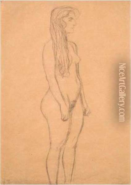 Stehender Madchenakt Im Profil 