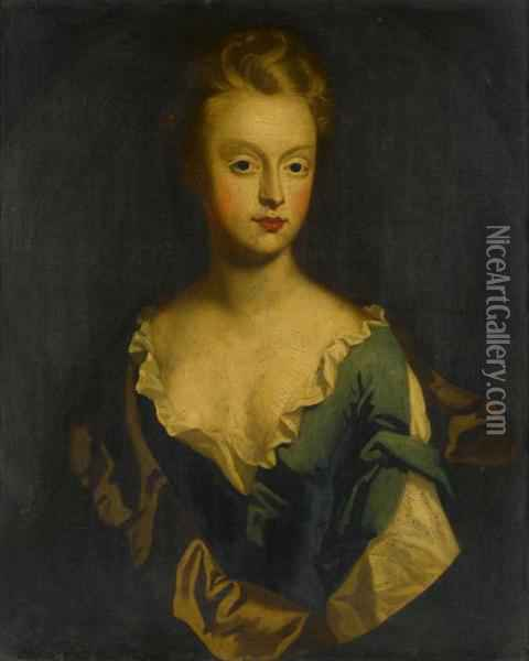 Kneller Portrait Of A Lady Bust Length In A A Blue Dress Oil Painting - Sir Godfrey Kneller