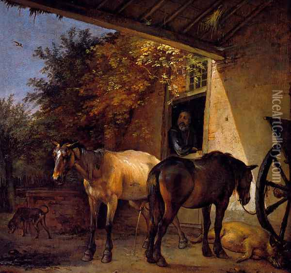 A Barnyard With Two Plough Horses Oil Painting - Paulus Potter