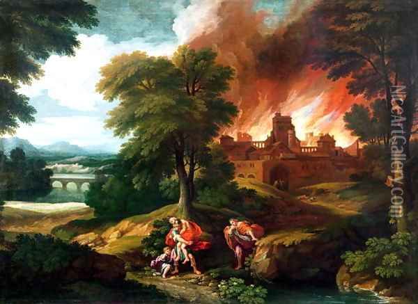 The Burning of Troy Oil Painting - Nicolas Poussin
