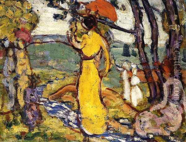 Lady In Yellow Dress In The Park Aka A Lady In Yellow In The Park Oil Painting - Maurice Brazil Prendergast