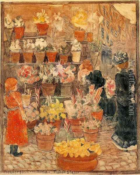 Roma, Flower Stall (also known as Flower Stall or Roman Flower Stall) Oil Painting - Maurice Brazil Prendergast