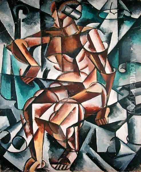 Seated Figure, 1914-15 Oil Painting - Lyubov Popova