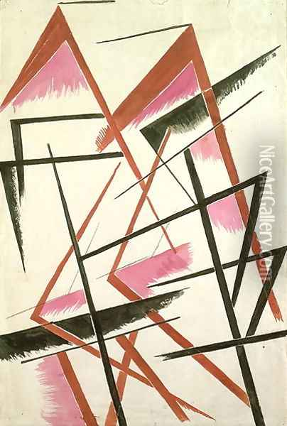 Linear Construction, c.1921 Oil Painting - Lyubov Popova