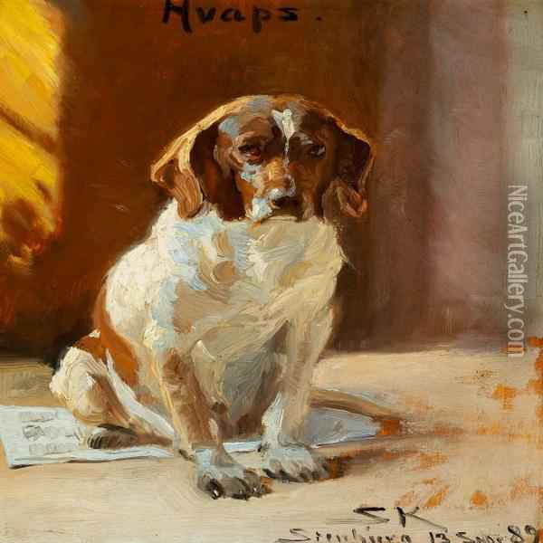 A Sporting Dog Sitting On A Newspaper Oil Painting - Peder Severin Kroyer