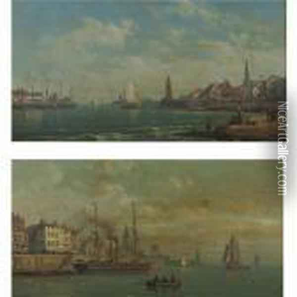 Views Of Harbours With Fisherboats: A Pair Of Paintings Oil Painting - Charles Euphrasie Kuwasseg