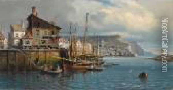 Many Figures In The Harbour Of A Coastal Town Oil Painting - Charles Euphrasie Kuwasseg