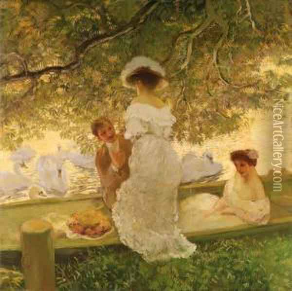 The Boating Party Oil Painting - Gaston de Latouche