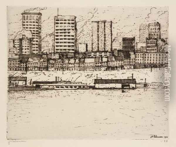The Skyline From The River Oil Painting - Jean Emile Laboureur