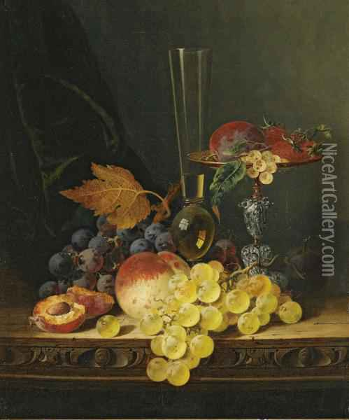 Still Life With A Tazza, Fruit And A Wine Glass Oil Painting - Edward Ladell