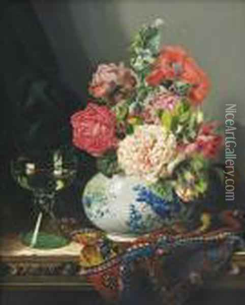 Roses In A Blue And White Vase, A Roemer And A Turkish Carpet On A Carved Wooden Chest Oil Painting - Edward Ladell