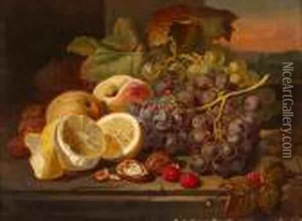 A Still Life With Fruit And Nuts On Atable Oil Painting - Edward Ladell