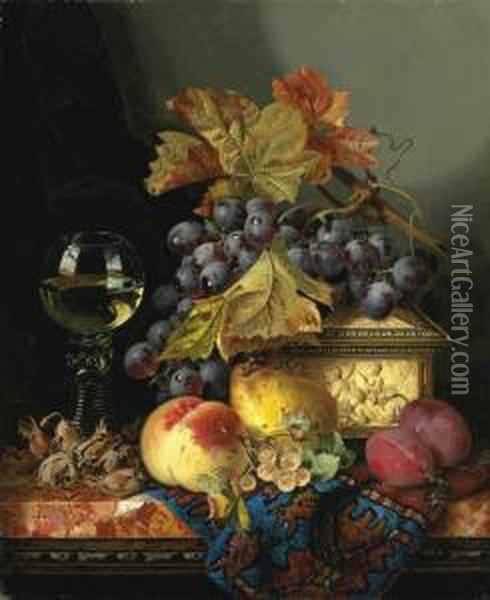A Roemer With A Casket, Grapes, 
