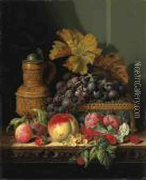 A Tankard With A Casket, Grapes,  Plums, Raspberries, Whitecurrantsand A Peach, On A Wooden Ledge Oil Painting - Edward Ladell