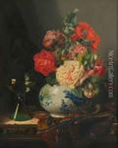 Rosesin A Chinese Vase Oil Painting - Edward Ladell