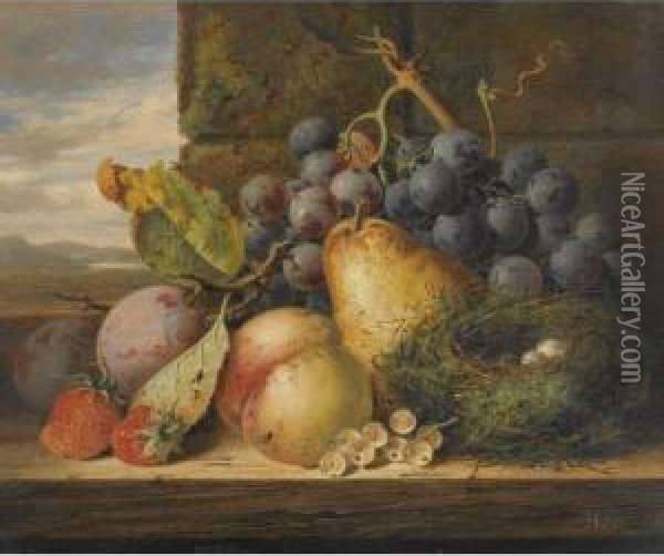 Still Life With A Bird's Nest, A Pear, A Peach, Grapes,strawberries And Plums Oil Painting - Edward Ladell