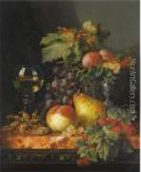 Still Life With Grapes, A Pear, A