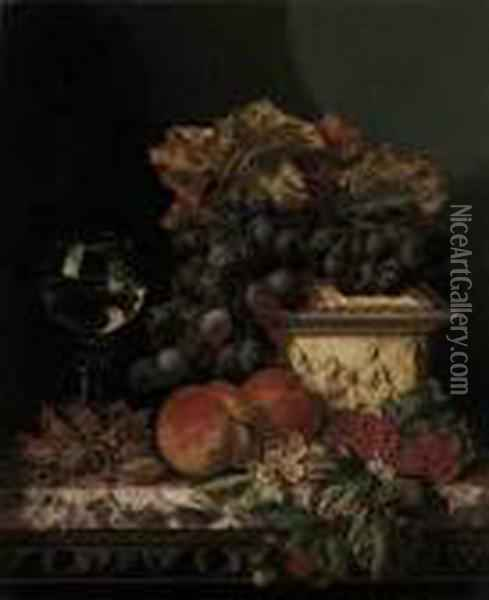 Grapes, Peaches, Raspberries, Cob Nuts, With A Casket And A Roemeron A Marble Ledge Oil Painting - Edward Ladell