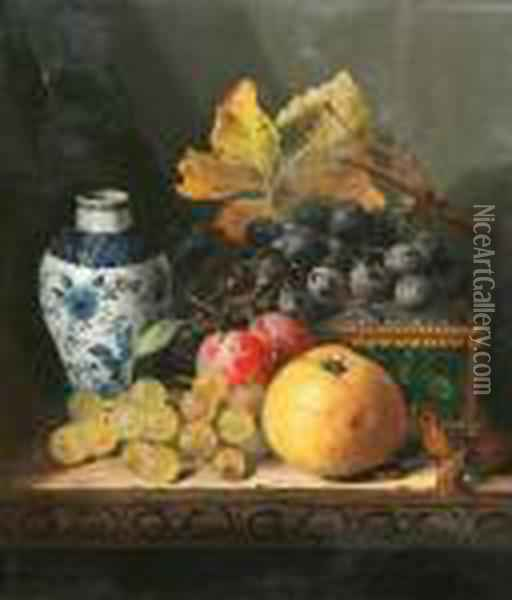 Still Life With Fruit And Walnuts; Still Lifewith Chinese Vase Oil Painting - Edward Ladell
