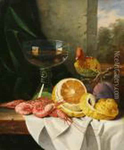 Still Life With Prawns And Fruit Oil Painting - Edward Ladell
