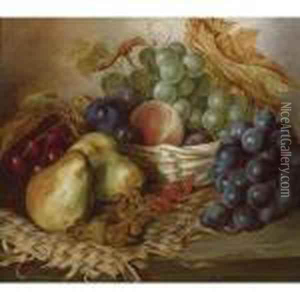 Still Life With Fruit And Basket Oil Painting - Edward Ladell