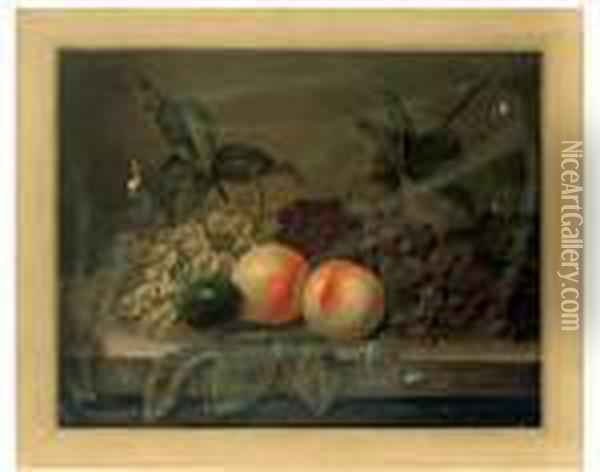 Peaches, Grapes And A Plum On A Stone Ledge Oil Painting - Edward Ladell