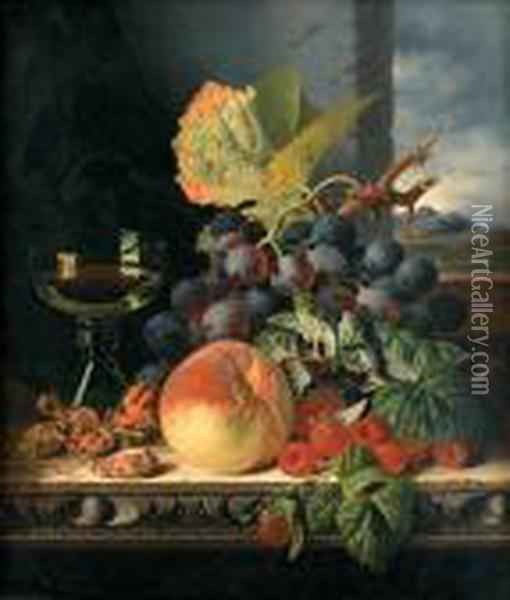 Still Life With Mixed Fruit And A Glass On A Ledge By A Window Oil Painting - Edward Ladell