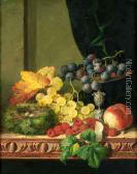 Still Life Of Fruit, Tazza And A Bird's Nest On A Ledge Oil Painting - Edward Ladell