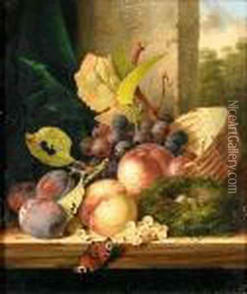 Still Life Of Fruit, A Bird's Nest And A Butterfly On A Ledge, A Landscape Beyond Oil Painting - Edward Ladell