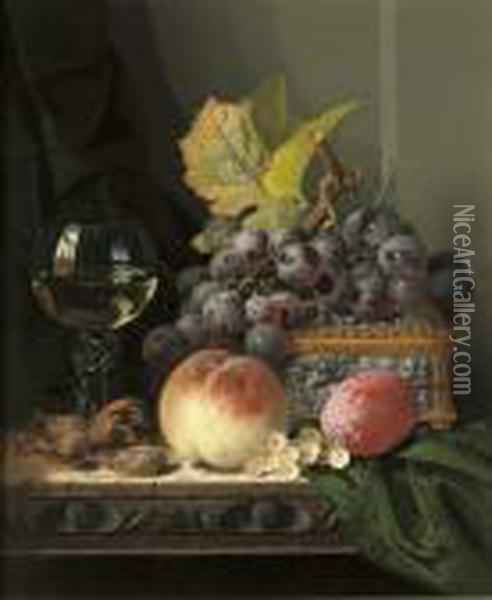 Grapes, Peaches, A 'roemer' Oil Painting - Edward Ladell