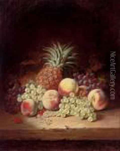 Grapes, Peaches And A Pineapple On A Wooden Ledge Oil Painting - Edward Ladell
