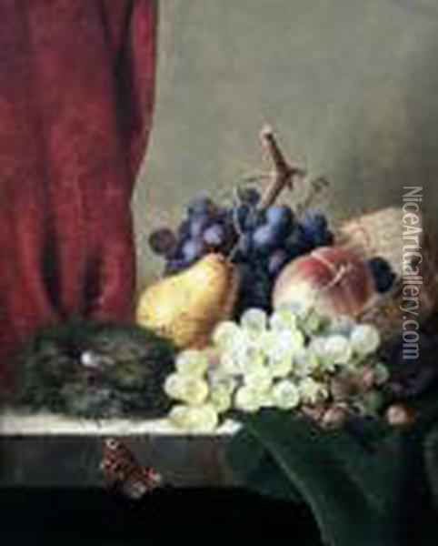 Still Life Of Grapes, Plums, A  Pear, A Peach, Cobnuts And A Birds Nest, On A Ledge With A Butterfly Oil Painting - Edward Ladell
