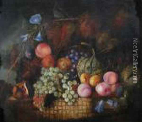 Still Life Of Fruit And Flowers With A Nest Oil Painting - Edward Ladell