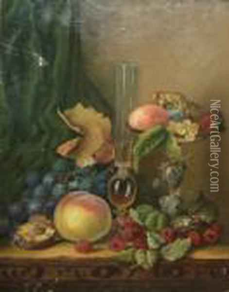 Still Life Study Of Mixed Flowers With Roemer And Tazza On A Sideboard Oil Painting - Edward Ladell