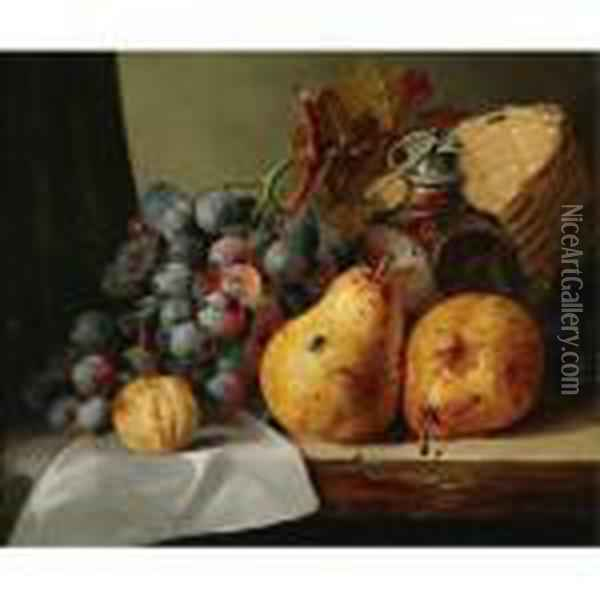 Pears, Grapes, A Greengage, Plums Oil Painting - Edward Ladell